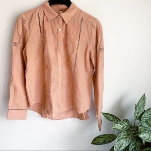 Free People Embroidered Neutral Linen Blend Blouse